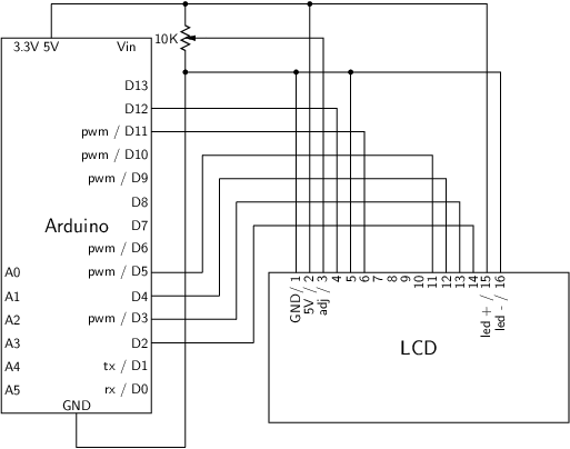 LCD / Arduino circuit diagram